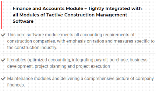 Consrtuction Account and Finance Modules