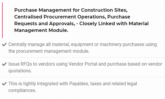 construction procurement software modules
